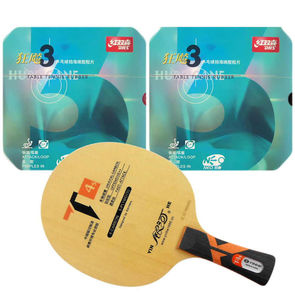 Original Pro Table Tennis PingPong Combo Racket: Galaxy Yinhe T4s with 2x DHS NEO Hurricane 3 Rubbers Shakehand Long Handle FL galaxy milky way yinhe v 15 venus 15 off table tennis blade for pingpong racket