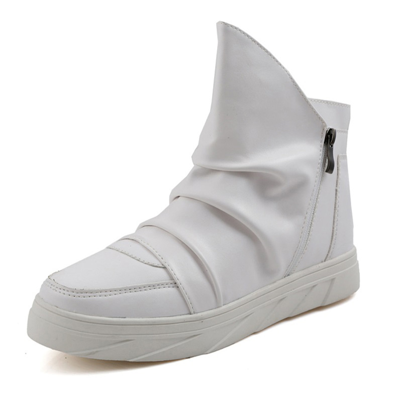 Fashion Pleated Leather Mens Casual Shoes Spring Autumn New High Top Men Boots Ankle Mens Boots Zipper Casual Footwear white fashion pleated leather mens casual shoes spring autumn new high top men shoes ankle mens sneakers zipper casual footwear
