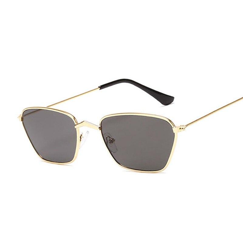 New Arrival Polygon Cat Eye Sunglasses Women Fashion Brand Design Lady Vintage Metal Small Frame Plain Sun Glasses Female UV400