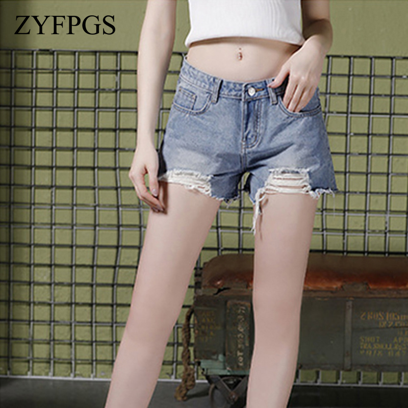 ZYFPGS 2018 Denim Shorts For Women's Jeans Hole Vintage Old Style Summer Autumn Shorts For Women Fashion Casual Z0513