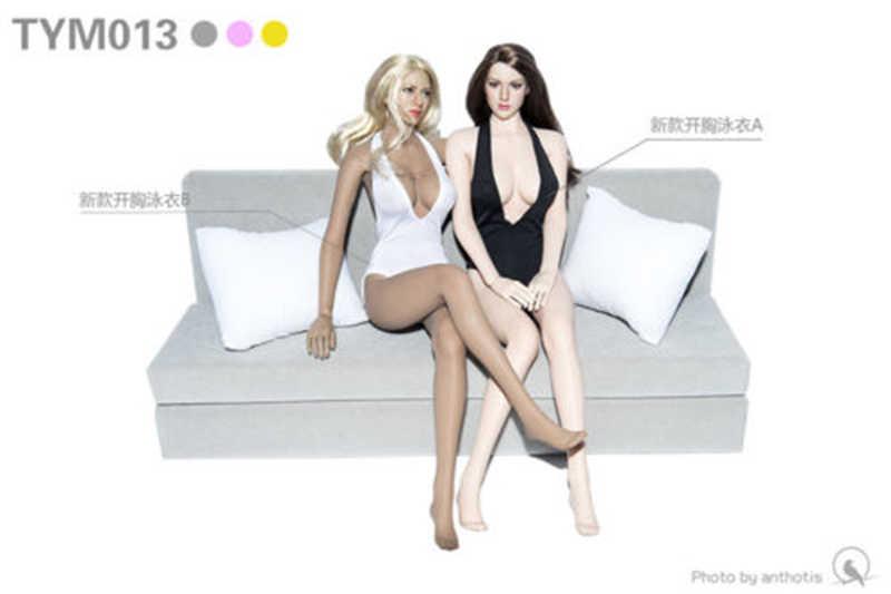 """1/6 Sexy Hitam/Putih Hitam Terbuka Dada Bikini Set Jumpsuit Pakaian Untuk 12 """"PH Perempuan Boneka Action Figure Aksesoris tubuh"""