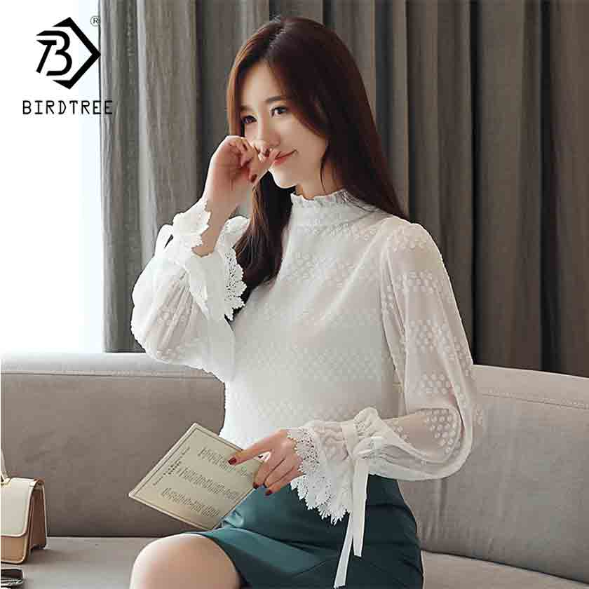 2019 New Arrival Spring Korean Women Lace Polka Dot Stand Chiffon Blouse Flare Sleeve Fashion Office Lady White Top Hot T93224X