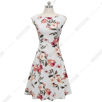 Women Elegant Casual Party Floral Printed Swing sundress Short sleeve 3