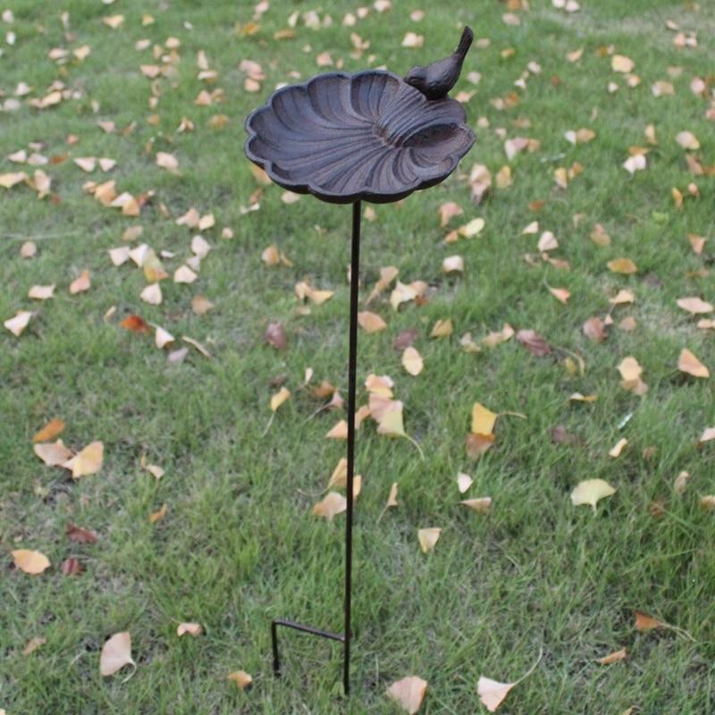 European Vintage Home Garden Decor Cast Iron Bird On Seashell Shaped Bird Feeder With Long Plug Heavy Sturdy Metal Birdbath