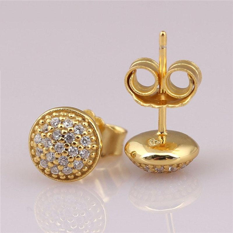 925 Sterling Silver Branded Earrings For Women Shine Gold Dazzling Droplets Earring Studs Fine Original Europe Jewelry Lady Gift in Stud Earrings from Jewelry Accessories
