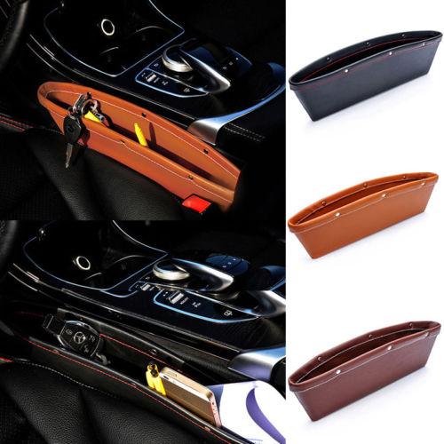 PU Leather Car Organizer Box Caddy Car Seat Gap Slit Pocket Storage 1pc