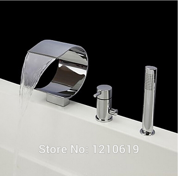 Newly Waterfall 3Pcs Tub Faucet Set Chrome Finish Bathtub Faucet with ABS Hand Shower Spray Mixer Tap Single Handle Deck Mounted deck mounted 5 pcs tub faucet brass chrome polish bathtub shower set swivel spout tap