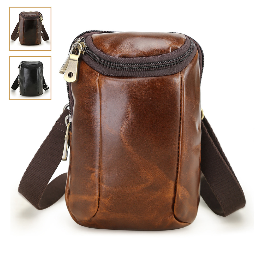 TIDING Small Genuine Leather Fanny Pack Belt Bag for Cool Hip Bum Bag Casual Style Mini Bags for Men Women 4670