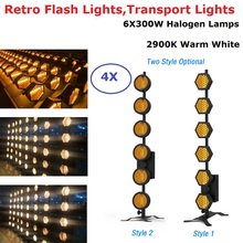 4Pcs/Lot High Power 1800W Halogen Lamps Retro Flash Lights Warm White 6X300W Transport Lights Stage Wash Effect Dj Show Lights цена 2017