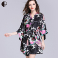 2016 Summer Silk Kimono Robes Bathrobe Women Satin Robe Longue Femme Print Peacock Sleepwear Sexy Night Grow Plus BIg Size AP343
