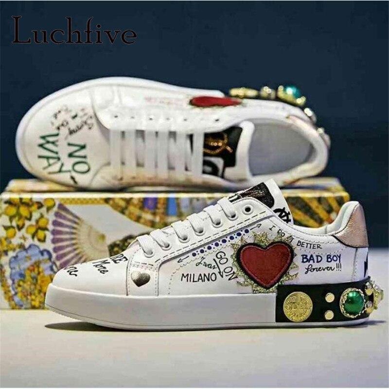Graffiti imprimé motif femmes chaussures décontractées classique bout rond Rivets plat loisirs Outwear blanc à lacets Runaway chaussures femme