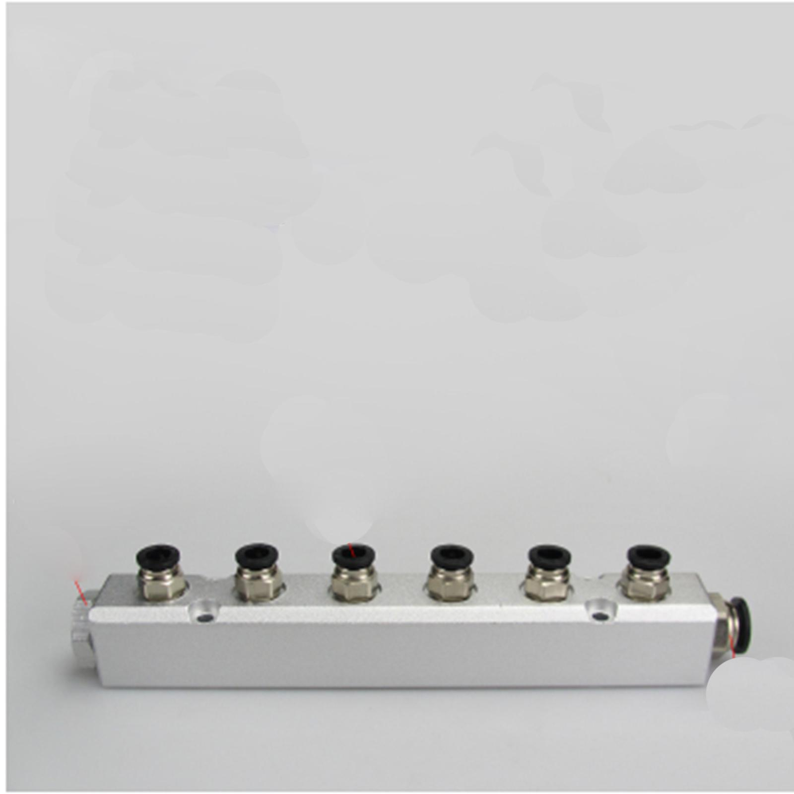 30x30mm G1/4 Out G1/2 In 6 Way Pneumatic Fitting Air Manifold Block Splitter расходомер barry 4 g1 2 2 8l min