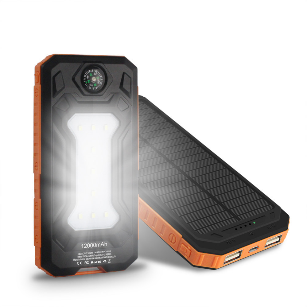 New 10000mAh Solar Charger Portable Solar Power Bank Outdoors Emergency External Battery for Mobile Phone Tablets