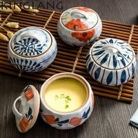 HENGFENG SOPERA de cerámica de huevo al vapor plato de sopa plato de sopa con tapa para los niños chinos kongfu