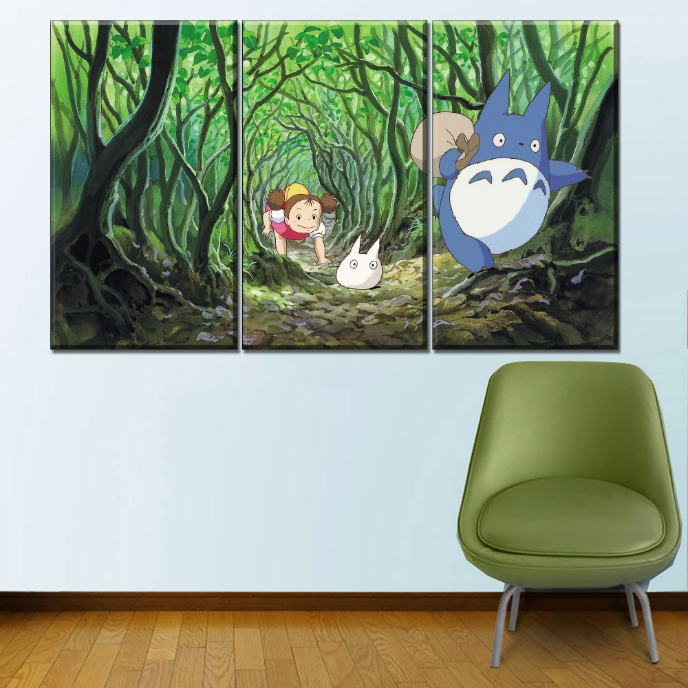 Canvas HD Printed Modular Pictures Home Decor Living Room 4 Pieces The Forest My Neighbor Totoro Paintings Wall Art Framework in Painting Calligraphy from Home Garden