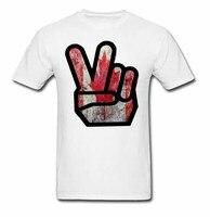 Erkekler Kısa Yeni Stil Tee Gömlek Barış El Kısa Kollu pamuk Tasarım Desen Tees Erkekler Tops Eğlence Konfor Erkek T gömlek