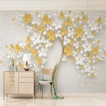 New lemon yellow 3d embossed flower simple background wall custom photo wallpaper - mural