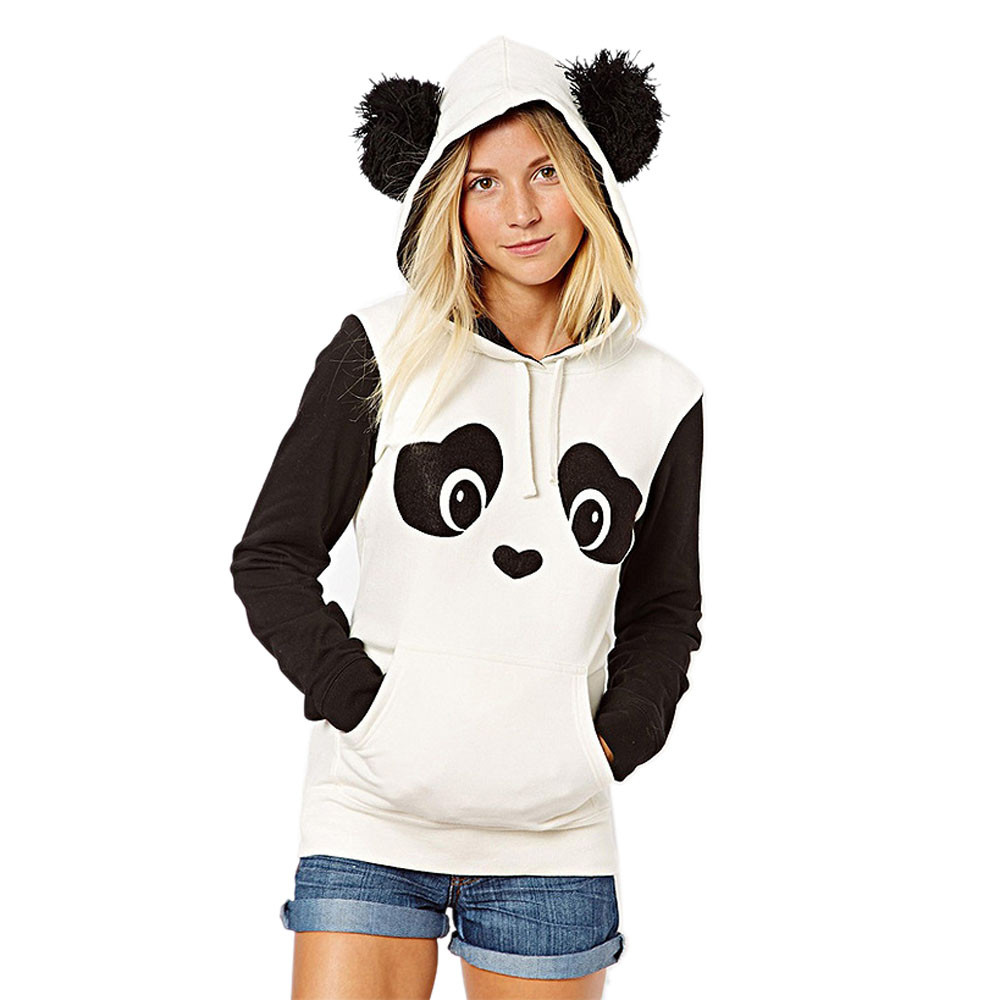 2017 New Fashion Women Cute Panda Design Autumn Winter Hoodie Sweatshirt Long Sleeve Pocket Hooded Pullover Top Blouse Plus Size