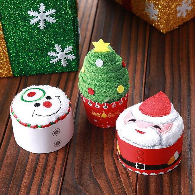 Mini Cute Celebration Cake Modelling Cotton Towel Santa Snowman Towel Christmas Party Gifts TB Sale