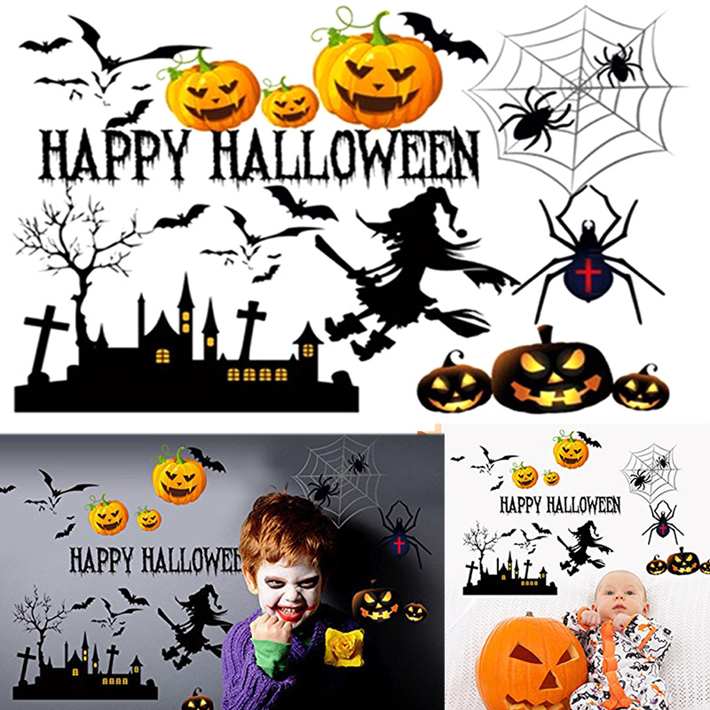 Unique Festival Decals HAPPY HAOWEEN Letters Decal Wall Stickers Halloween Home Room Window Decoration TB Sale