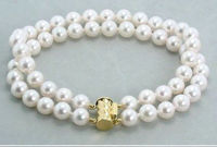 Wholesale price 16new ^^^^genuine double strands AAA 9-10mm natural south sea white pearl bracelet 7.5