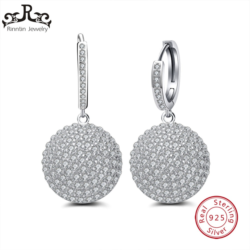 Rinntin Sterling Silver S925 Earrings Round Shape With Micro Paved AAA CZ Shiny Hollowed Heart Backside Hoop Earrings TSE42