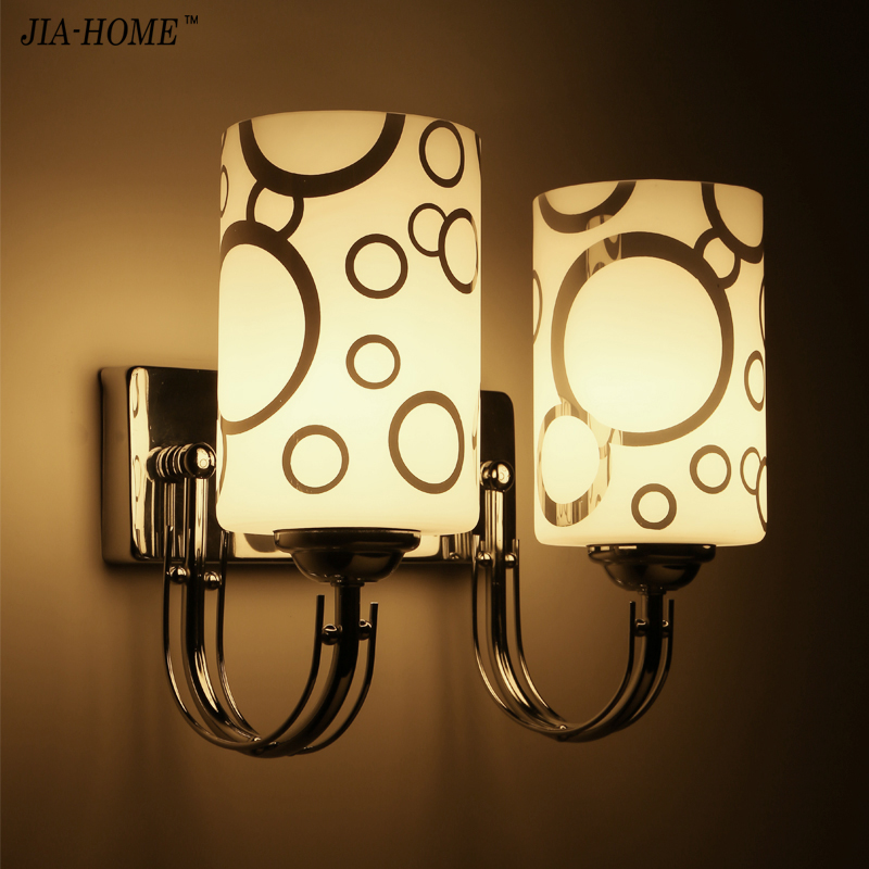 цена Wall lights glass lampshade 1 lamp or 2 lamps for Indoor bedroom bedside Lamp balcony lighting Home Decor Sconce Light