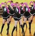 Coréia menina geração Girls Generation DS smoking trajes de corrida automóvel preto 4 peças