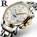 Men's Watch ONTHEEDGE Brand Double Butterfly Buckle Stainless Steel Band Clock Multifunction Waterproof Mechanical Wristwatch
