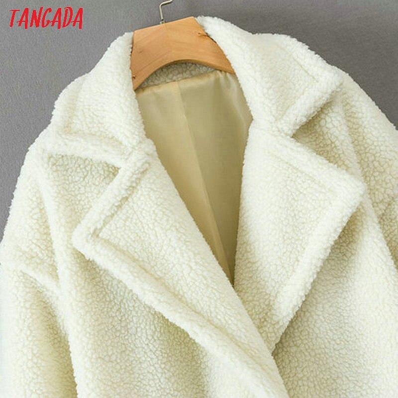 Chic Blanc Pour Longues Manches En Femme Poches Peluche Corée Chaud D'hiver Tangada 1d12 Outwear Bouton Dames Épais À Manteau q5PSwEnY