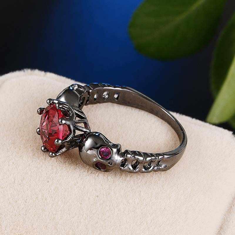 Vintage Punk Skull แหวน Multicolor Red Cubic Zircon แหวน Anillos Anel เครื่องประดับ Bague Femme Anel Feminino
