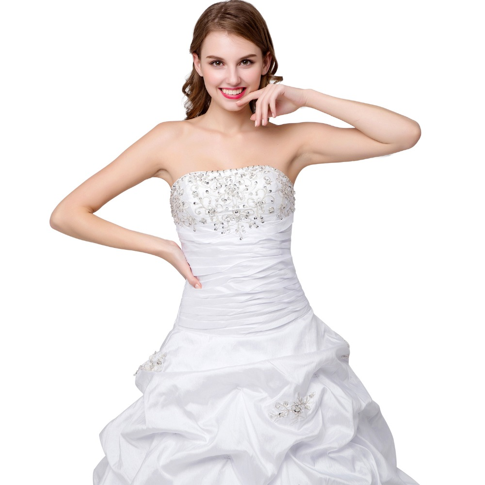 Aliexpress Angelsbridep Taffeta White Ivory Beaded Pleated Strapless Wedding Dresses With Chapel Train From Reliable