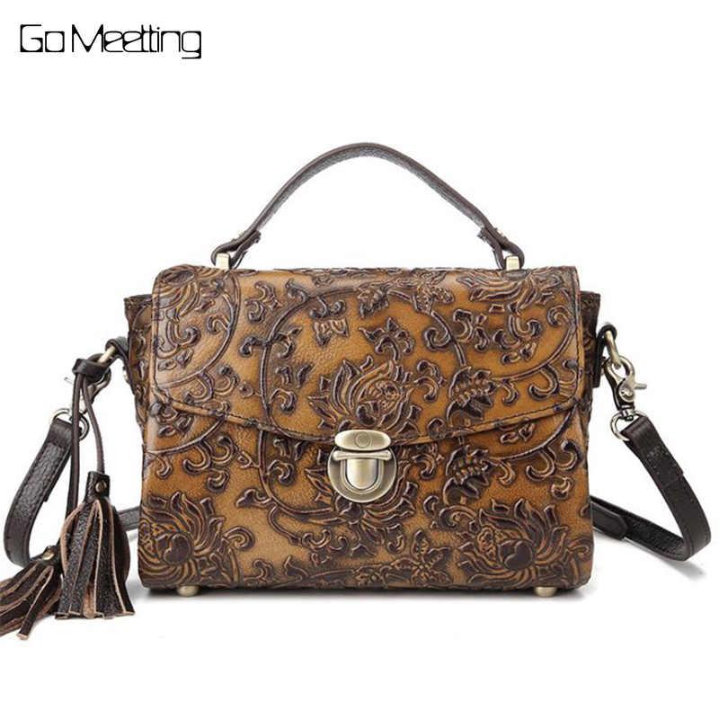 c91a7e0c590f Винтаж Для женщин Рельефные сумки на ремне женские Винтаж сумка из натуральной  кожи через плечо Сумка