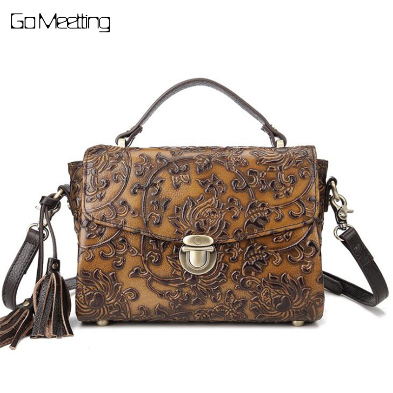 Vintage Women Embossed Shoulder Bags Female Vintage Messenger Bag Genuine Leather Ladies cross-body Handbag small Flap bag genuine leather cross body top handle bags embossed natural skin hobo vintage female women messenger shoulder tote handbag