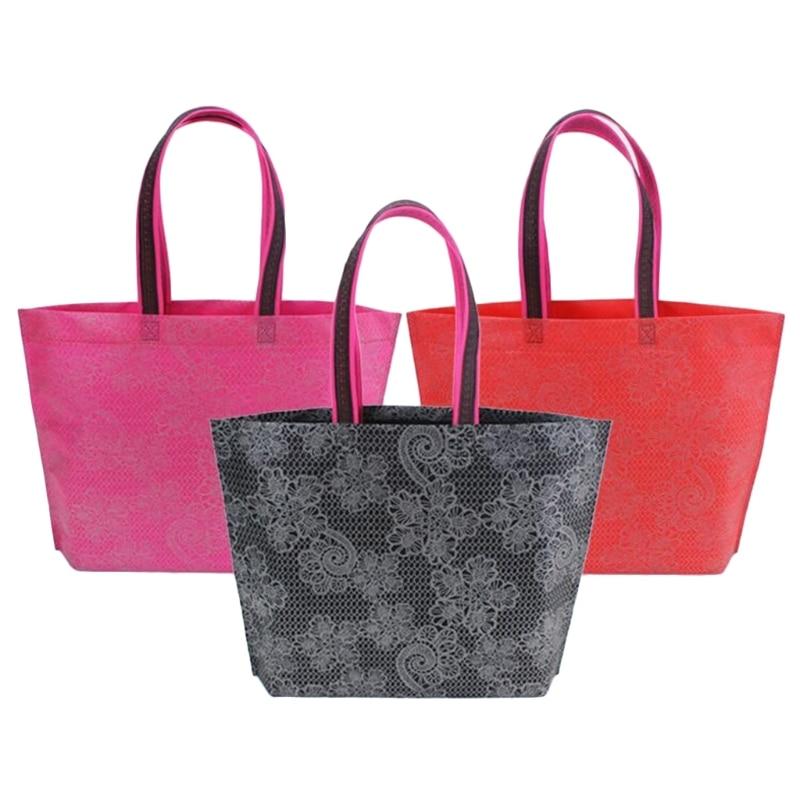 THINKTHENDO Women Lady Foldable Shopping Bag  Waterproof Thick Handbag Casual New Portable Large Capacity Zip Nylon