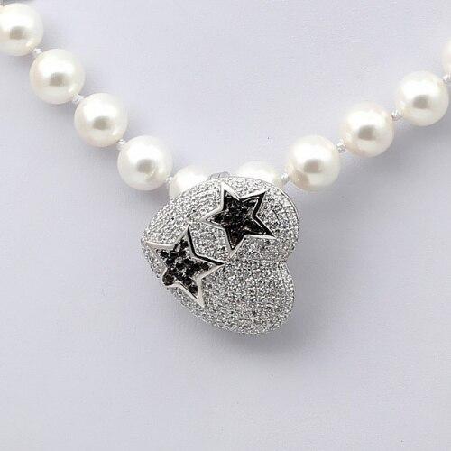 Fermoir de bijoux fins multifonctions en argent Sterling Zircon en forme d'étoile en forme de coeur pour Bracelet de collier de perles faisant la SC-CZ063 - 5