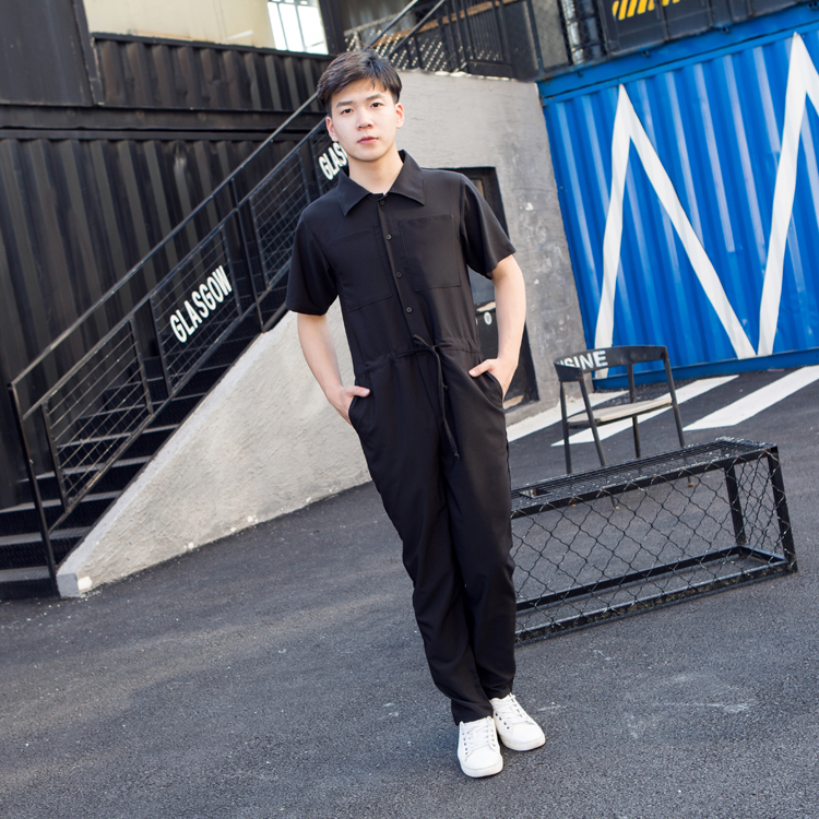 2018 New Men clothing Hair Stylist fashion One-piece garment Jumpsuit overalls Loose short sleeved conjoined plus size costumes