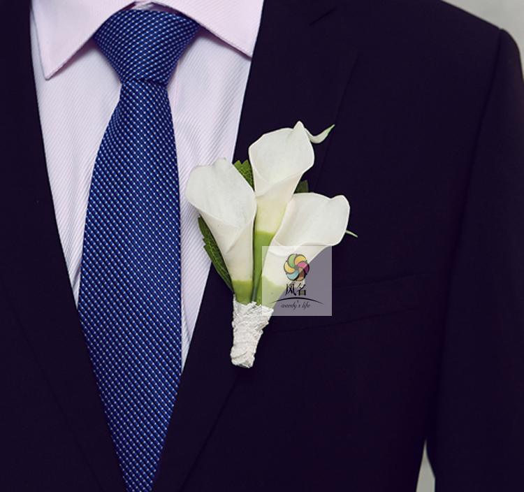 5Pcs/Lot Hand Made Groom Groomsman Corsage White Artificial PU Calla Lily Flower Wedding Man Boutonniere Pin Brooch Decoration