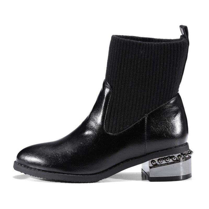 Black Botas 2018 Para Bajo Clásico Cortas grey Felpa Popular Tobillo on Calidad En Slip Stylesowner Mujer Moda De Negro Talón Alta Joven XOwUSR