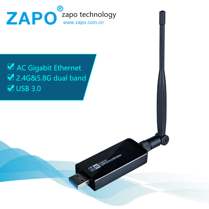ZAPO In stock Stronger 1200Mbps USB adapter Network Card Wifi adapter USB Wifi antenna network adapter