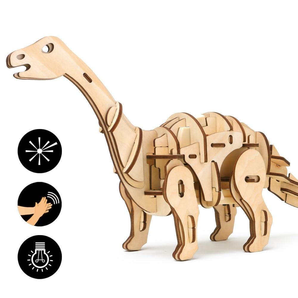 Robud DIY Apatosaurus Sonore À Distance Contrôle de La Lumière de Marche Dinosaure Rugissant Jouet En Bois Modèle de Construction Jouets Pour Enfants Loisirs D420