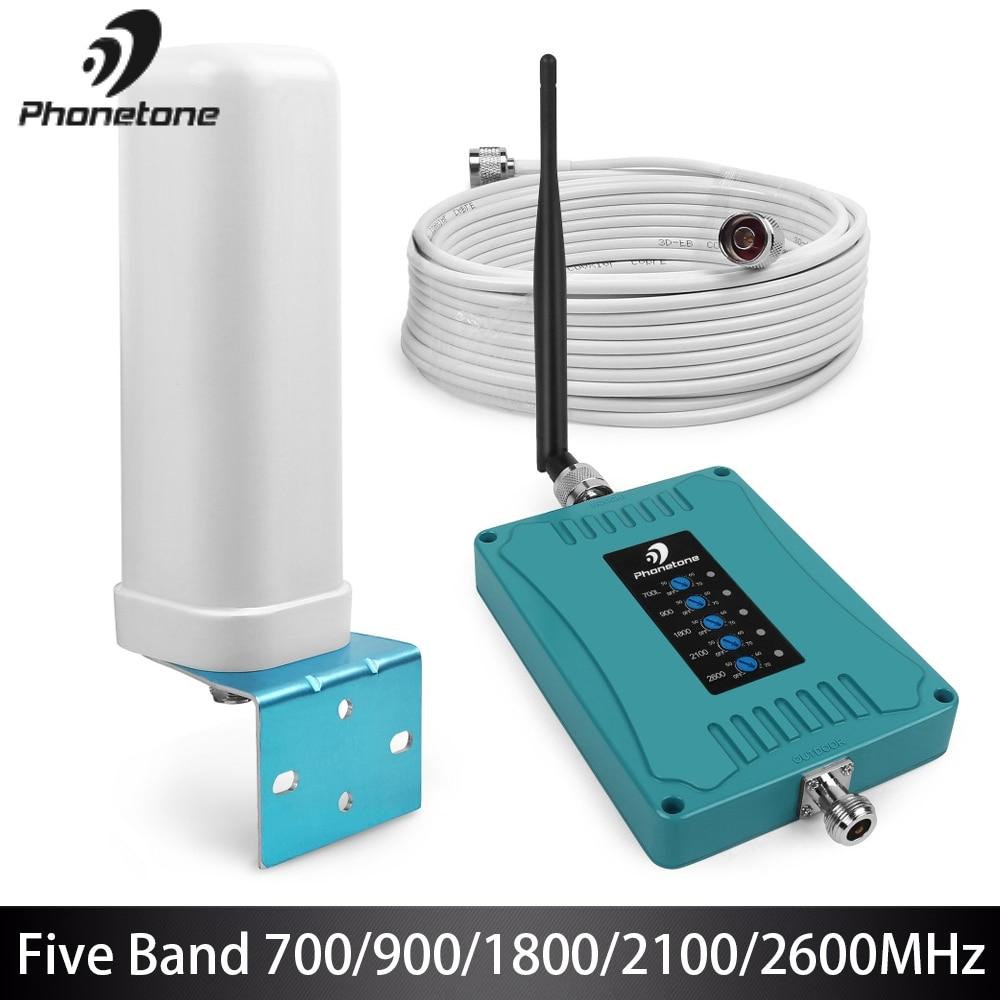 Ensemble répéteur d'amplificateur 2G 3G 4G LTE pour téléphone Mobile à Gain élevé 70dB à cinq bandes 700/900/1800/2100/2600 MHz