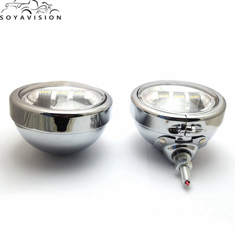 "Spotlamp Led Harley Parts 4 1/2"" 4.5"" Chrome Led Auxiliary Spot Fog"