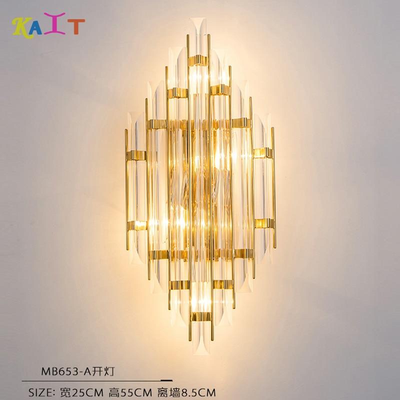 Crystal Chandelier Wall Light Gold Crystal Sconce Wall Lamp Led Foyer Living Room Bedside Glass Sconce Crystal Good Taste Lights & Lighting