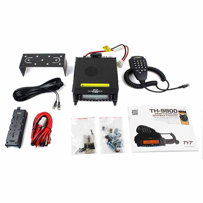 NEW TYT TH-9800 PLUS 50W 809CH Quad Band Dual Display Reapter Car Ham Radio+Programming Cable