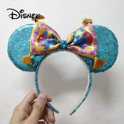 Disney Plush Headband Accessories Aladdin Mickey Mouse Ears 3D Cartoon Hair Buckle Hair Bands Girl Toys Halloween Party Gifts