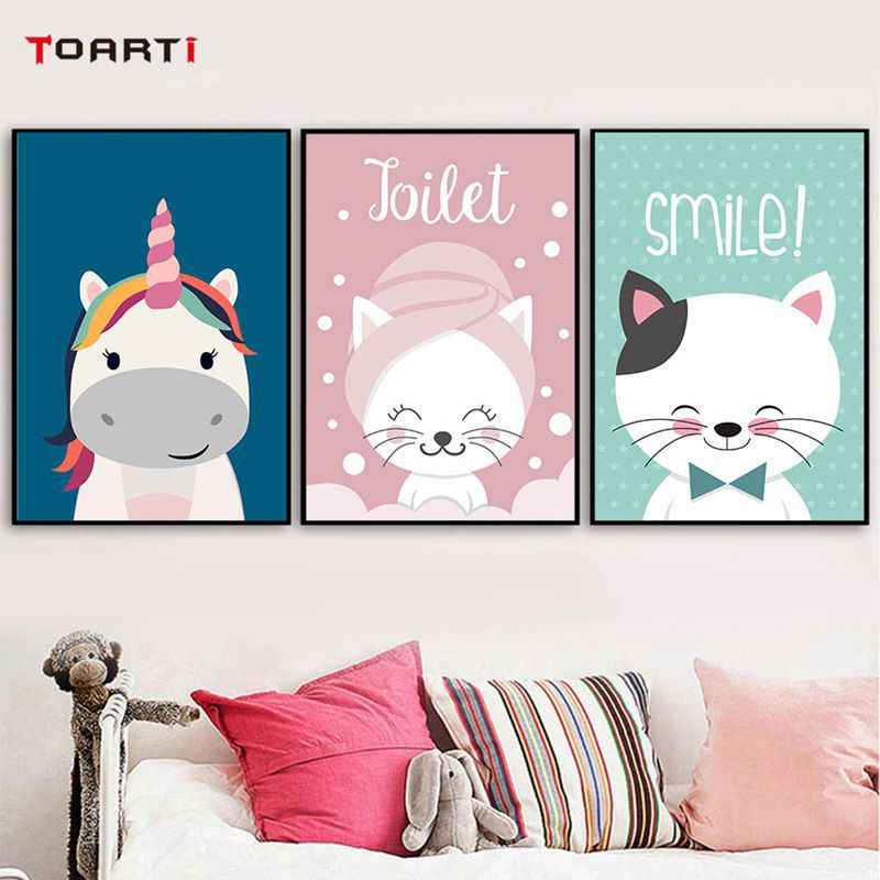 Cartoon Cat Unicorn Art Decorative Posters Living Room Children's Bedroom Frameless Canvas Painting Wall Art Back To The Future