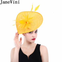 JaneVini European Style Feather Yellow Fascinators Hats Bridal Hat Headpiece Wedding Hats and Fascinators Bride Hair accessories