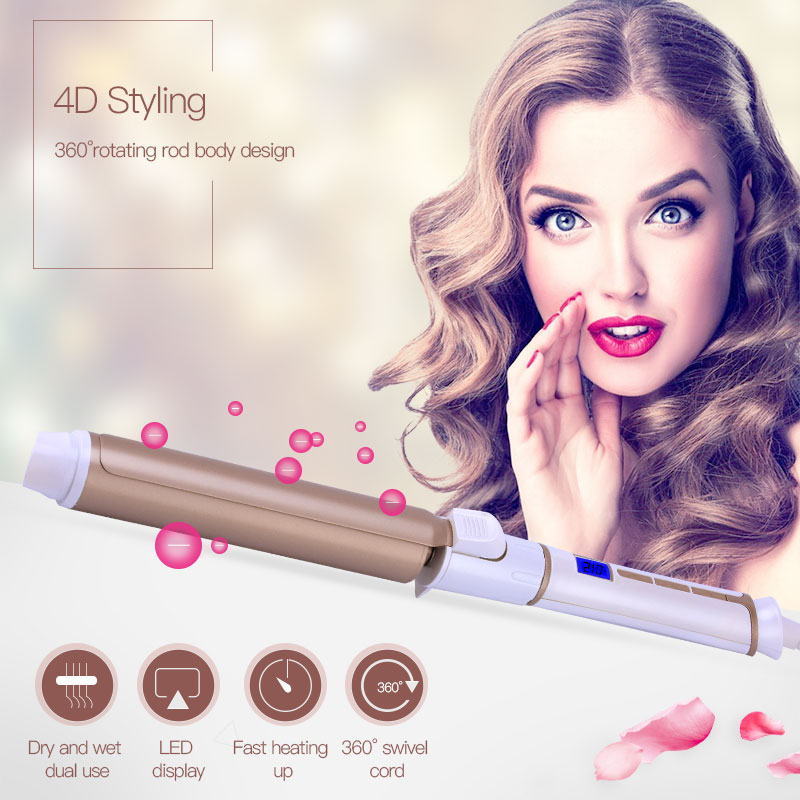 Gold Ceramic Electric Hair Waves Curling Iron Digital Professional Perfect LCD Hair Curler Roller Wand Fast Styler Styling Tool ckeyin 9 31mm ceramic curling iron hair waver wave machine magic spiral hair curler roller curling wand hair styler styling tool