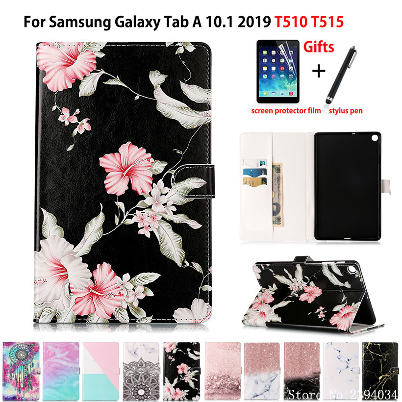 Marble Pattern <font><b>Case</b></font> For Samsung Galaxy Tab A 10.1 2019 <font><b>T510</b></font> T515 SM-<font><b>T510</b></font> SM-T515 Cover Funda Tablet Flip Stand Shell Coque +Gift image